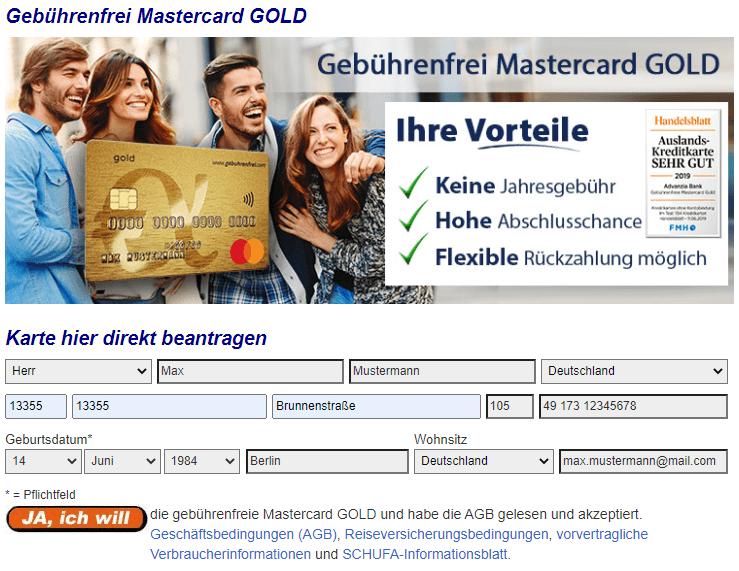 Es sind nur wenige Infos erforderlich, um die goldene Kreditkarte direkt zu beantragen.