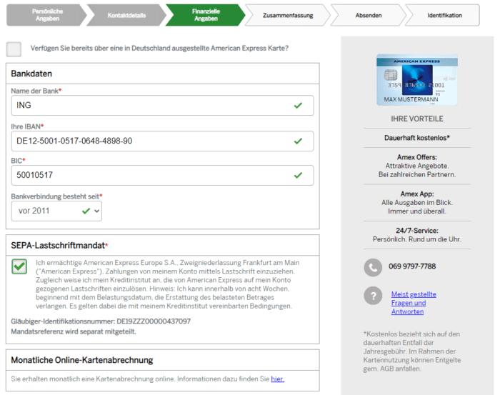 Der offene Kreditkartensaldo wird von Amex mittels SEPA-Lastschriftmandat eingezogen. Diese Erlaubnis müssen Sie der Bank im dritten Schritt erteilen.