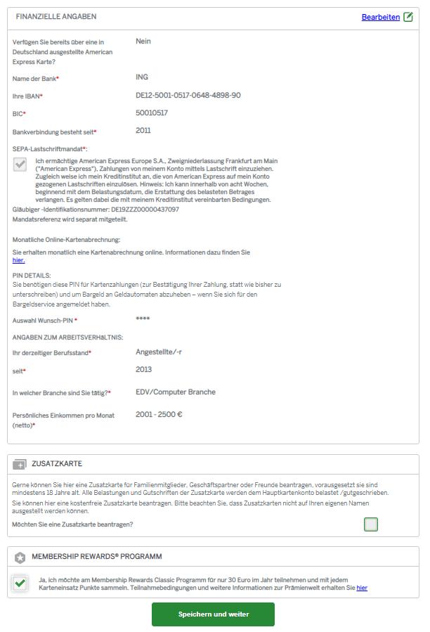 Außerdem können Sie hier noch entscheiden, ob Sie eine Zusatzkarte beantragen möchten und ob Sie gegen eine Jahresgebühr von 30 Euro am Membership Rewards Programm teilnehmen möchten.