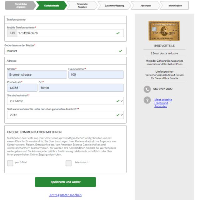 Falls Sie von Amex nicht über weitere Services oder Angebote informiert werden möchten, treffen Sie beim letzten Punkt einfach keine Auswahl.