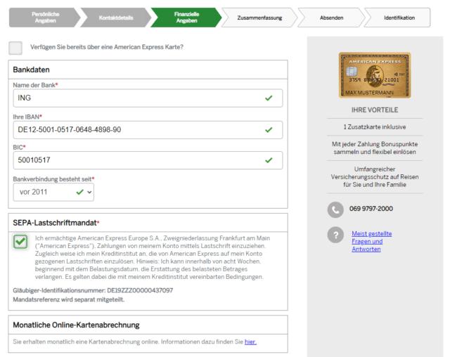 Der offene Kreditkartensaldo wird von Amex mittels SEPA-Lastschriftmandat eingezogen. Diese Erlaubnis müssen Sie der Bank im dritten Schritt erteilen, um fortfahren zu können.