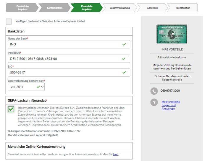 Der offene Kreditkartensaldo wird von Amex per SEPA-Lastschriftmandat eingezogen. Ihre Erlaubnis dafür holt sich die Bank im dritten Beantragungsschritt.