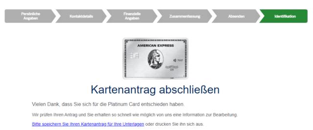 Geschafft! American Express prüft Ihren Antrag. Anschließend müssen Sie nur noch Ihre Identität bestätigen.